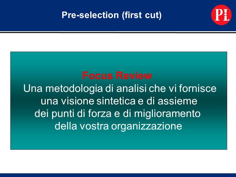 Pre-selection (first cut) Focus Review Una metodologia di analisi che vi fornisce una visione sintetica e di assieme dei punti di forza e di miglioramento della vostra organizzazione