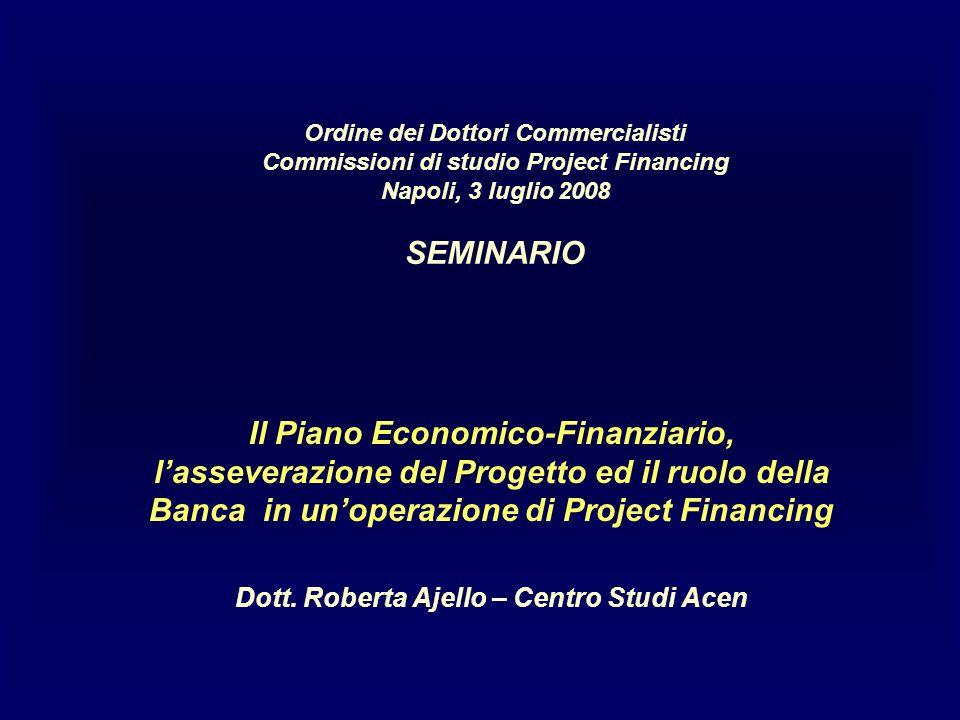 Ordine dei Dottori Commercialisti Commissioni di studio Project Financing Napoli, 3 luglio 2008 SEMINARIO Il Piano Economico-Finanziario, lasseverazione del Progetto ed il ruolo della Banca in unoperazione di Project Financing Dott.