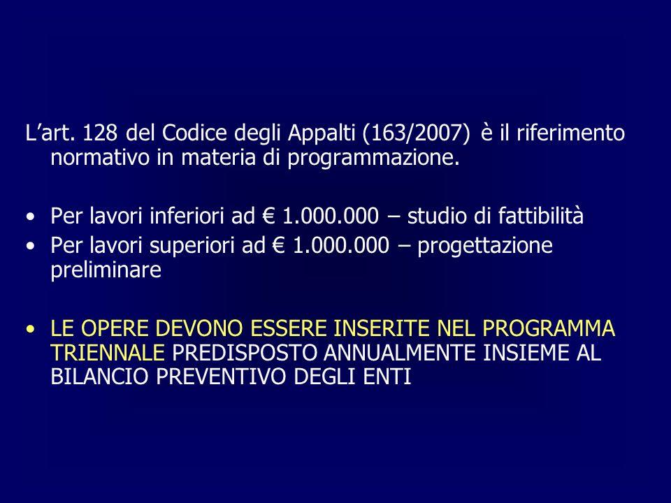 Lart. 128 del Codice degli Appalti (163/2007) è il riferimento normativo in materia di programmazione. Per lavori inferiori ad 1.000.000 – studio di f
