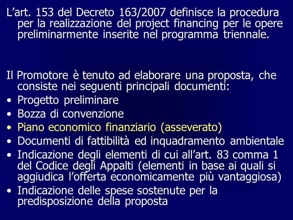 Lart. 153 del Decreto 163/2007 definisce la procedura per la realizzazione del project financing per le opere preliminarmente inserite nel programma t