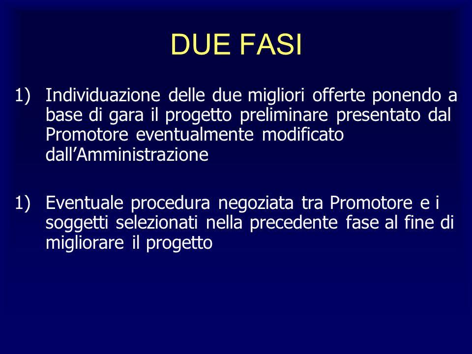 DUE FASI 1)Individuazione delle due migliori offerte ponendo a base di gara il progetto preliminare presentato dal Promotore eventualmente modificato