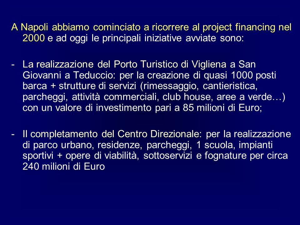 A Napoli abbiamo cominciato a ricorrere al project financing nel 2000 e ad oggi le principali iniziative avviate sono: -La realizzazione del Porto Tur