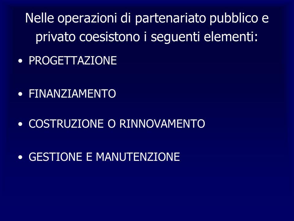 Nelle operazioni di partenariato pubblico e privato coesistono i seguenti elementi: PROGETTAZIONE FINANZIAMENTO COSTRUZIONE O RINNOVAMENTO GESTIONE E MANUTENZIONE