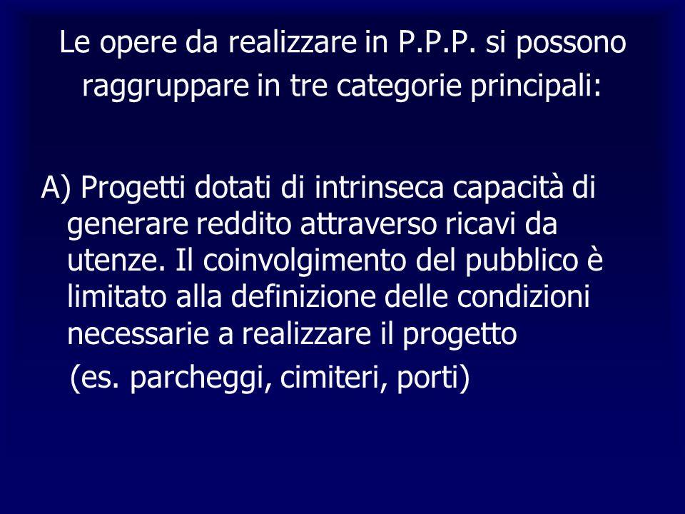Le opere da realizzare in P.P.P. si possono raggruppare in tre categorie principali: A) Progetti dotati di intrinseca capacità di generare reddito att