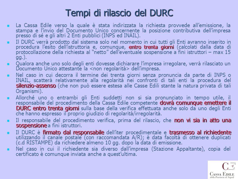 Tempi di rilascio del DURC La Cassa Edile verso la quale è stata indirizzata la richiesta provvede allemissione, la stampa e linvio del Documento Unic