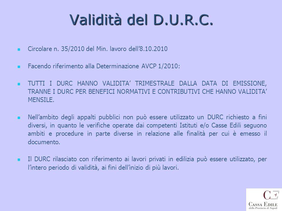 Validità del D.U.R.C. Circolare n. 35/2010 del Min. lavoro dell8.10.2010 Facendo riferimento alla Determinazione AVCP 1/2010: TUTTI I DURC HANNO VALID