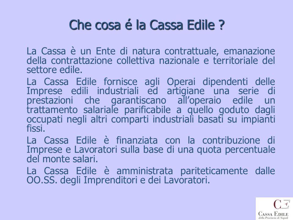 LA CASSA EDILE DELLA PROVINCIA DI NAPOLI In Italia il primo accordo che ha dato vita allistituto delle Casse Edili è stato stipulato a Milano nel 1919.
