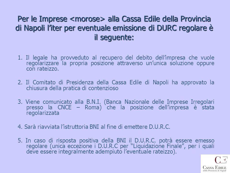 Per le Imprese alla Cassa Edile della Provincia di Napoli liter per eventuale emissione di DURC regolare è il seguente: 1. Il legale ha provveduto al