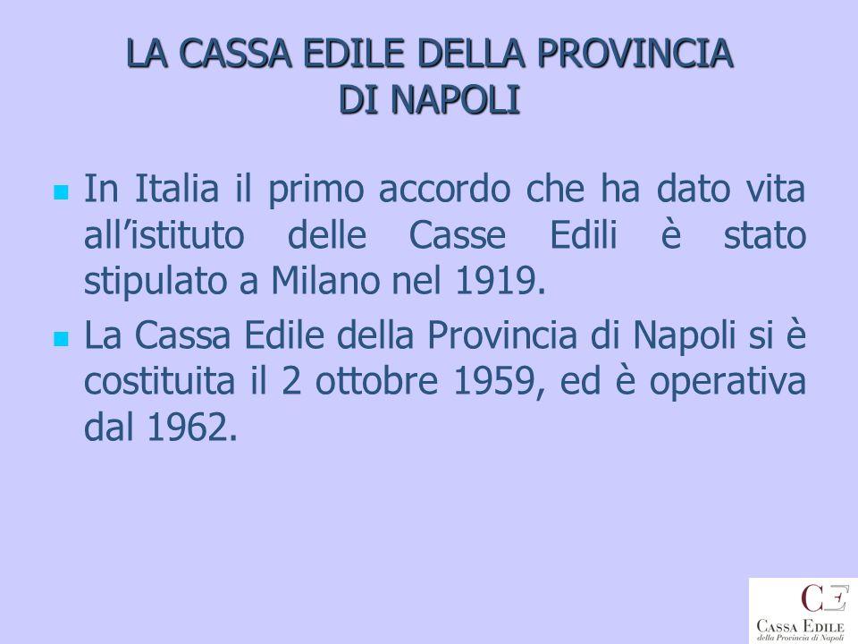 LA CASSA EDILE DELLA PROVINCIA DI NAPOLI In Italia il primo accordo che ha dato vita allistituto delle Casse Edili è stato stipulato a Milano nel 1919