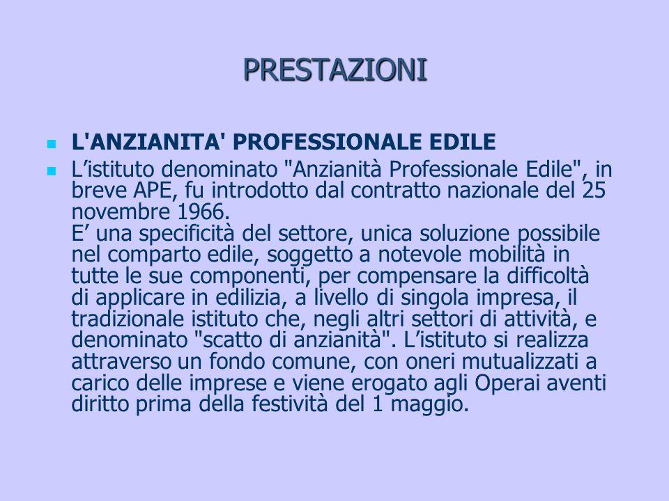 PRESTAZIONI L'ANZIANITA' PROFESSIONALE EDILE Listituto denominato