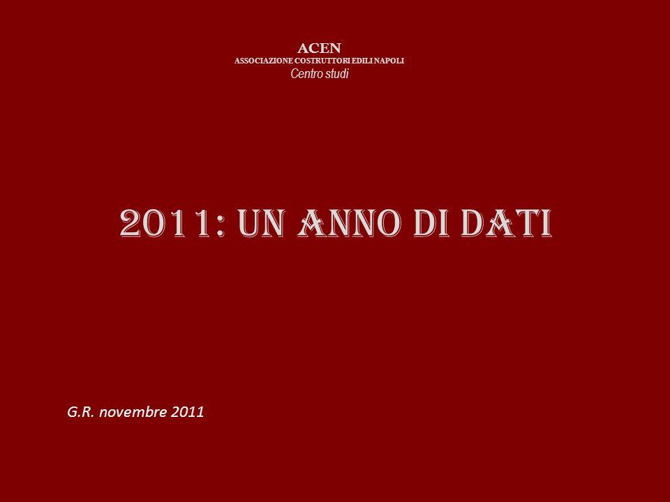 2011: Un anno di dati ACEN ASSOCIAZIONE COSTRUTTORI EDILI NAPOLI Centro studi G.R. novembre 2011