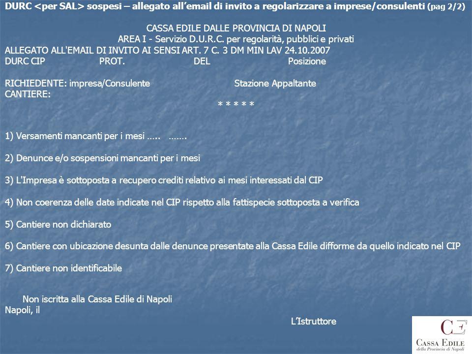 DURC sospesi – allegato allemail di invito a regolarizzare a imprese/consulenti (pag 2/2) CASSA EDILE DALLE PROVINCIA DI NAPOLI AREA I - Servizio D.U.