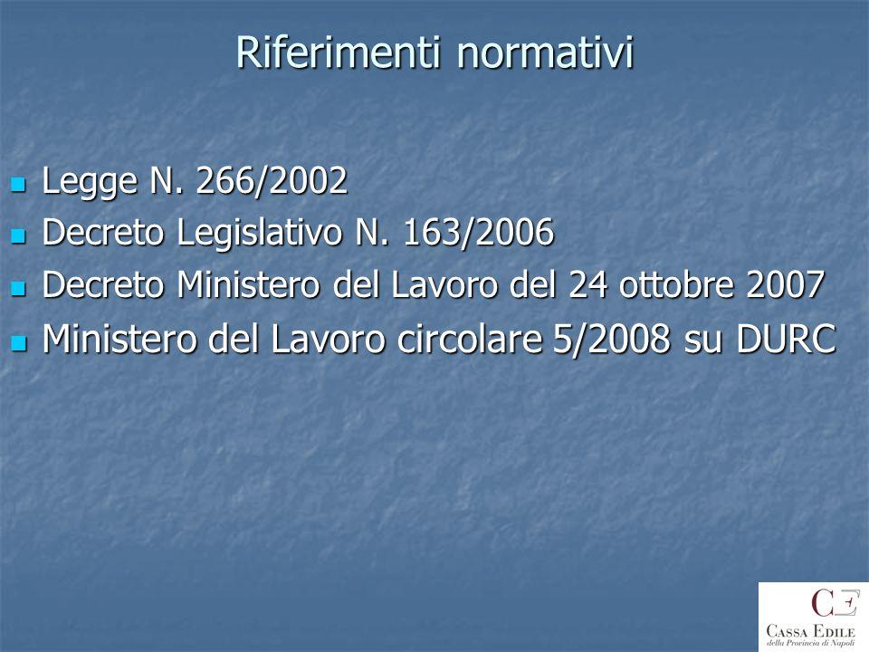 Riferimenti normativi Legge N. 266/2002 Legge N. 266/2002 Decreto Legislativo N. 163/2006 Decreto Legislativo N. 163/2006 Decreto Ministero del Lavoro