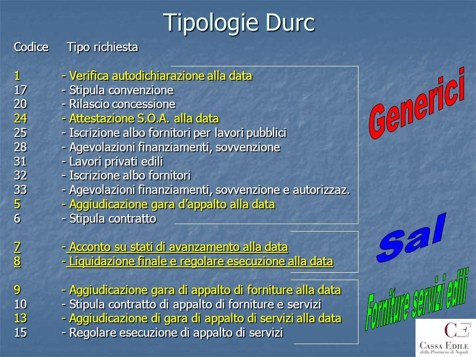 Tipologie Durc Codice Tipo richiesta 1 - Verifica autodichiarazione alla data 17 - Stipula convenzione 20- Rilascio concessione 24 - Attestazione S.O.