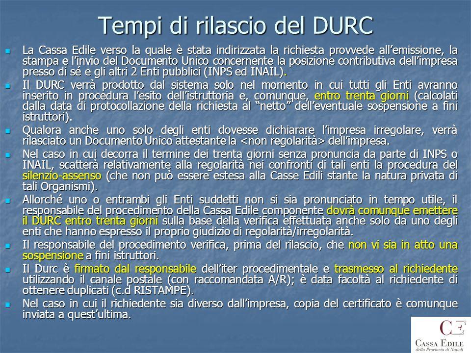 Sospensione istruttoria D.U.R.C.In mancanza dei requisiti di regolarità previsti dallart.