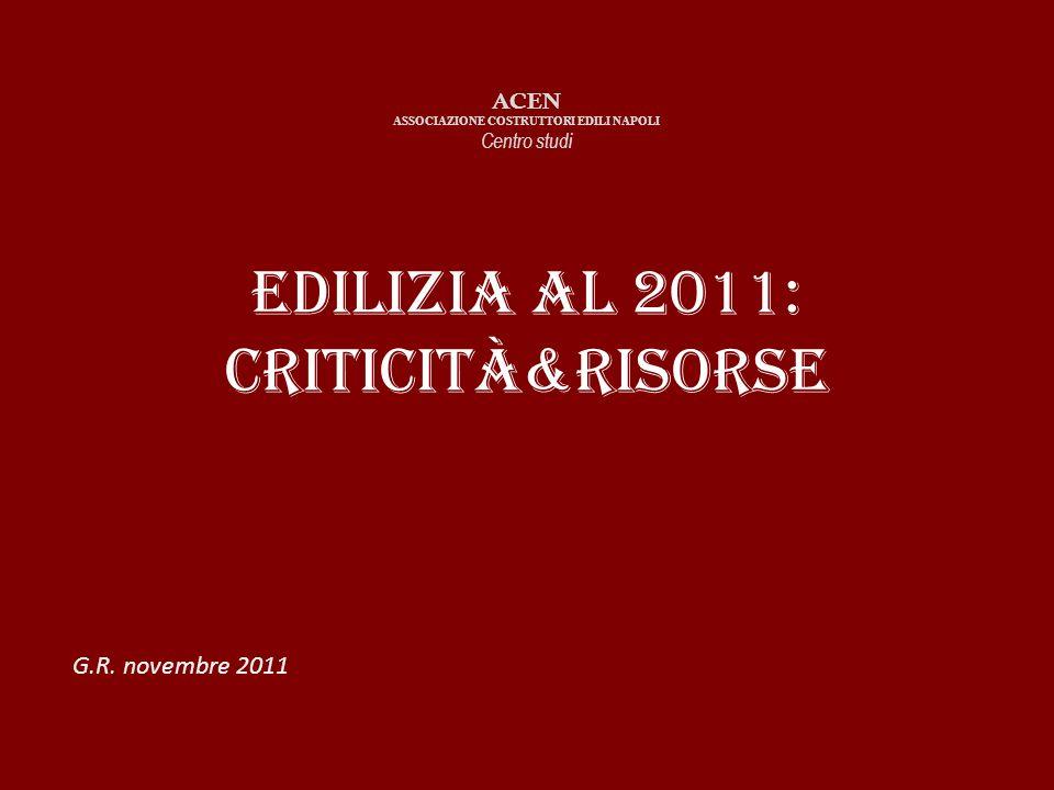 Edilizia al 2011: criticità&risorse ACEN ASSOCIAZIONE COSTRUTTORI EDILI NAPOLI Centro studi G.R.