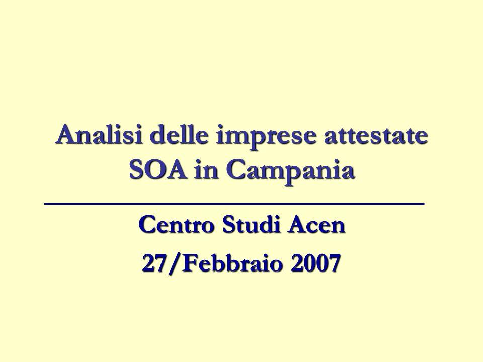 Analisi delle imprese attestate SOA in Campania Centro Studi Acen 27/Febbraio 2007