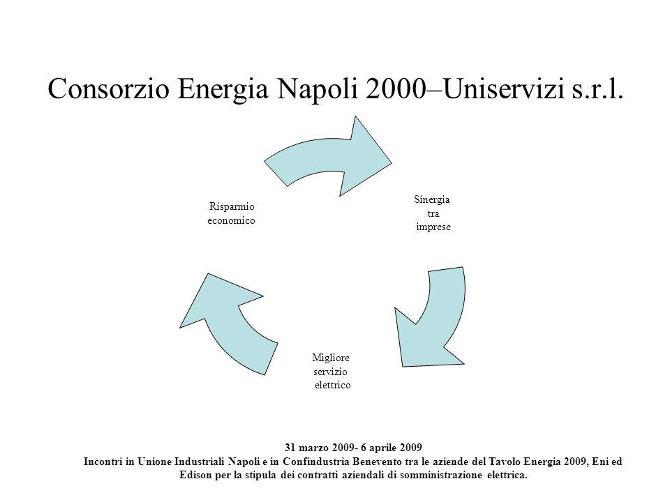 Consorzio Energia Napoli 2000–Uniservizi s.r.l. Sinergia tra imprese Migliore servizio elettrico Risparmio economico 31 marzo 2009- 6 aprile 2009 Inco