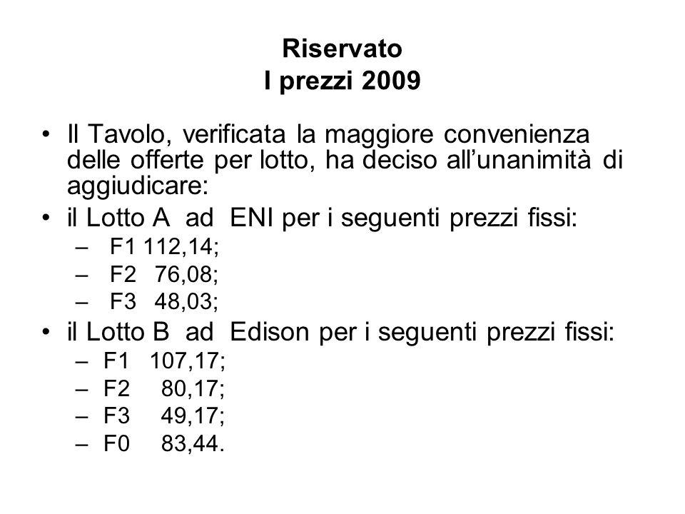 Riservato I prezzi 2009 Il Tavolo, verificata la maggiore convenienza delle offerte per lotto, ha deciso allunanimità di aggiudicare: il Lotto A ad EN