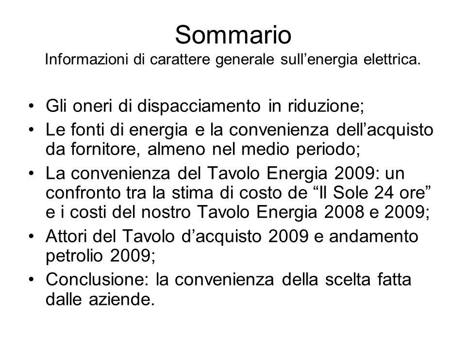 Sommario Informazioni di carattere generale sullenergia elettrica. Gli oneri di dispacciamento in riduzione; Le fonti di energia e la convenienza dell