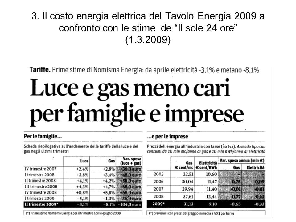 3. Il costo energia elettrica del Tavolo Energia 2009 a confronto con le stime de Il sole 24 ore (1.3.2009)