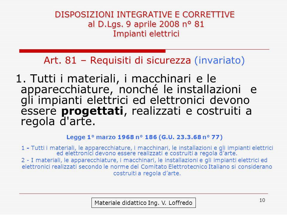 10 Art. 81 – Requisiti di sicurezza (invariato) 1. Tutti i materiali, i macchinari e le apparecchiature, nonché le installazioni e gli impianti elettr