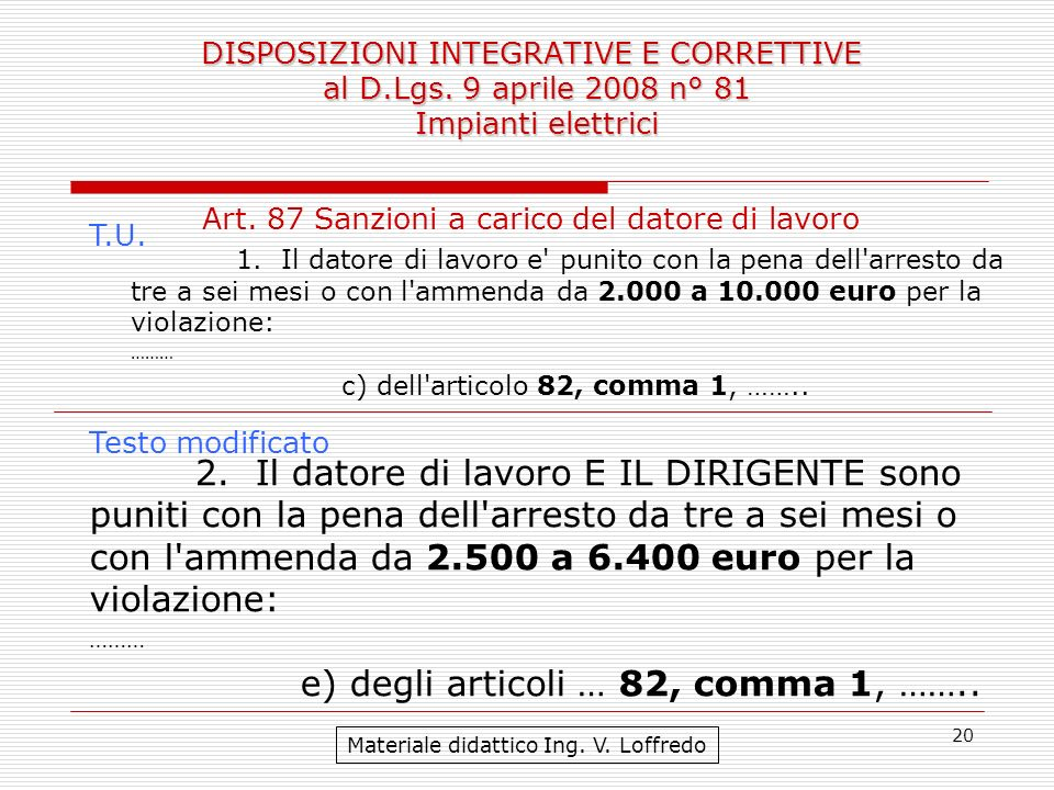 20 DISPOSIZIONI INTEGRATIVE E CORRETTIVE al D.Lgs. 9 aprile 2008 n° 81 Impianti elettrici Materiale didattico Ing. V. Loffredo Art. 87 Sanzioni a cari
