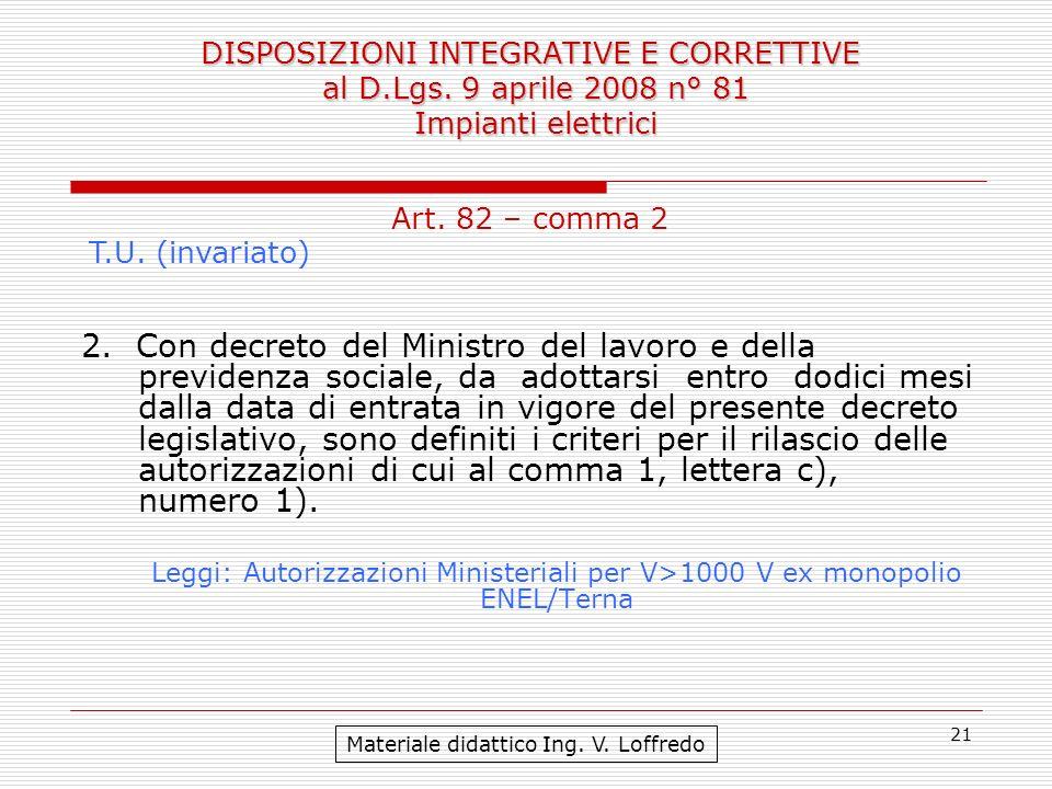 21 DISPOSIZIONI INTEGRATIVE E CORRETTIVE al D.Lgs. 9 aprile 2008 n° 81 Impianti elettrici Materiale didattico Ing. V. Loffredo Art. 82 – comma 2 T.U.