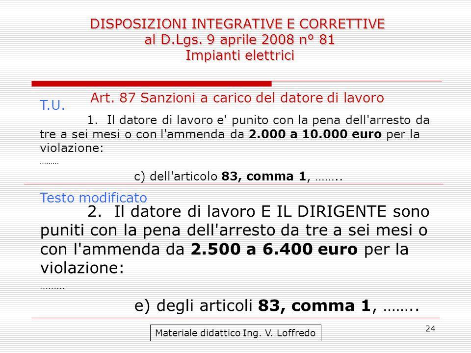 24 DISPOSIZIONI INTEGRATIVE E CORRETTIVE al D.Lgs. 9 aprile 2008 n° 81 Impianti elettrici Materiale didattico Ing. V. Loffredo Art. 87 Sanzioni a cari