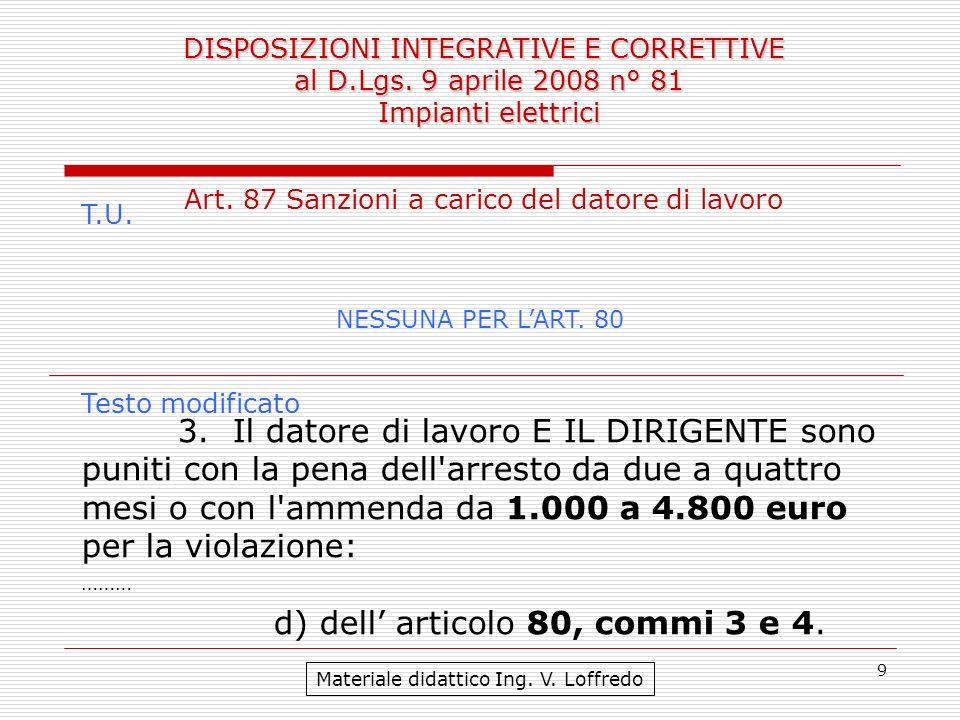 9 DISPOSIZIONI INTEGRATIVE E CORRETTIVE al D.Lgs. 9 aprile 2008 n° 81 Impianti elettrici Materiale didattico Ing. V. Loffredo Art. 87 Sanzioni a caric