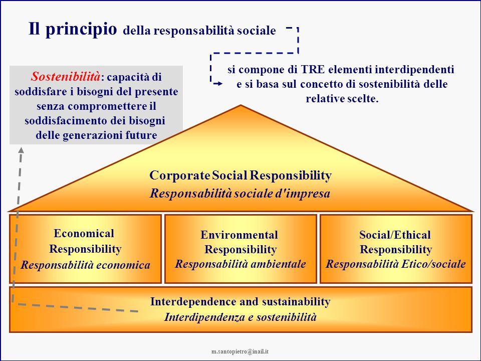 Sostenibilità : capacità di soddisfare i bisogni del presente senza compromettere il soddisfacimento dei bisogni delle generazioni future Il principio