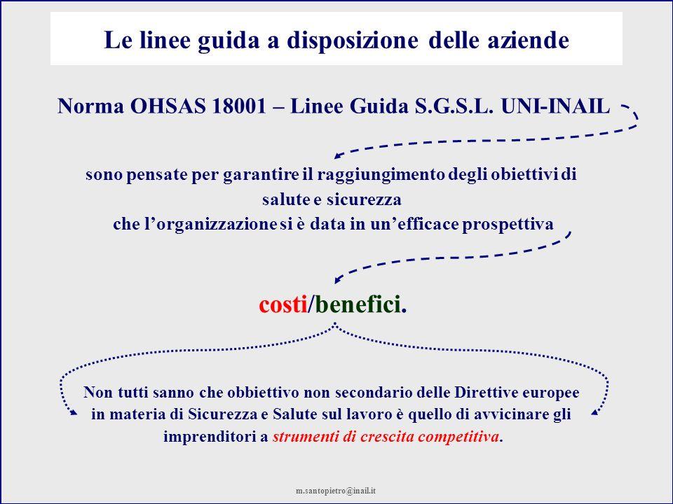 Le linee guida a disposizione delle aziende Norma OHSAS 18001 – Linee Guida S.G.S.L. UNI-INAIL Non tutti sanno che obbiettivo non secondario delle Dir