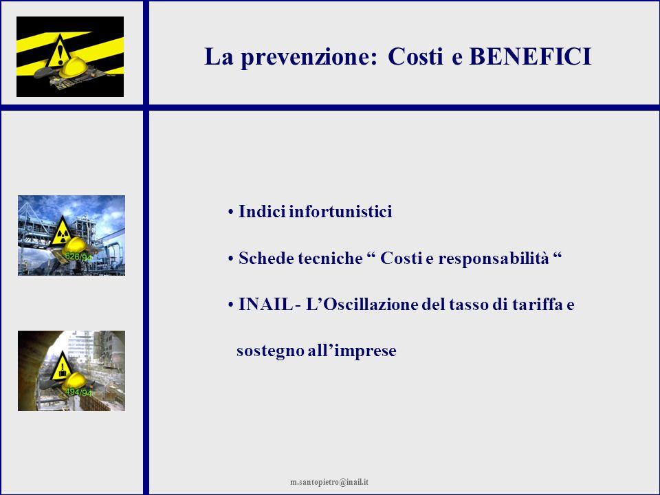 La prevenzione: Costi e BENEFICI Indici infortunistici Schede tecniche Costi e responsabilità INAIL - LOscillazione del tasso di tariffa e sostegno al
