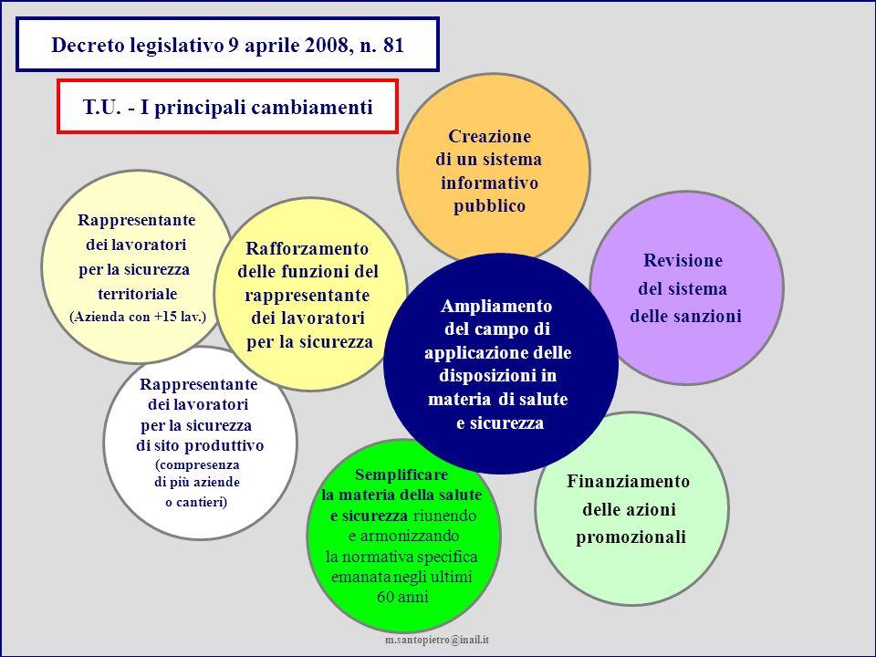 Semplificare la materia della salute e sicurezza riunendo e armonizzando la normativa specifica emanata negli ultimi 60 anni Finanziamento delle azion