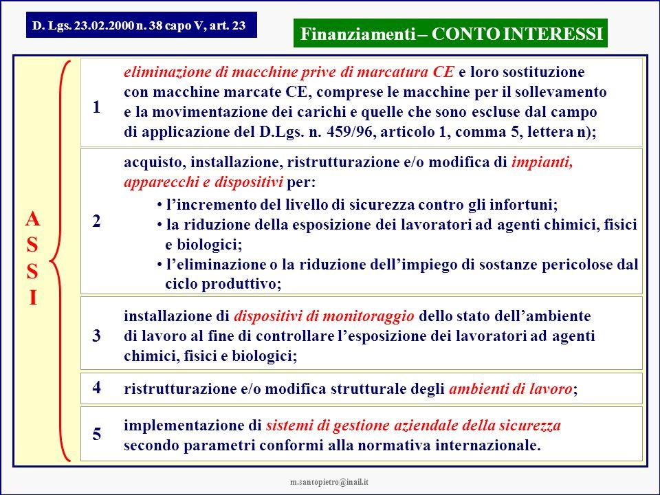 D. Lgs. 23.02.2000 n. 38 capo V, art. 23 Finanziamenti – CONTO INTERESSI eliminazione di macchine prive di marcatura CE e loro sostituzione con macchi
