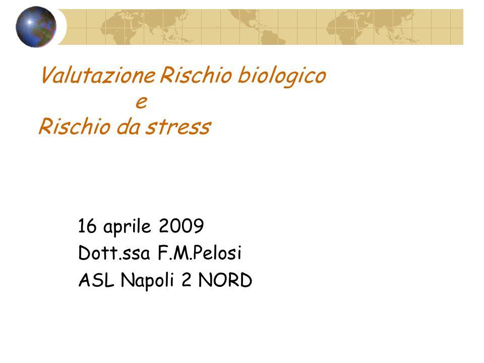 Valutazione Rischio biologico e Rischio da stress 16 aprile 2009 Dott.ssa F.M.Pelosi ASL Napoli 2 NORD