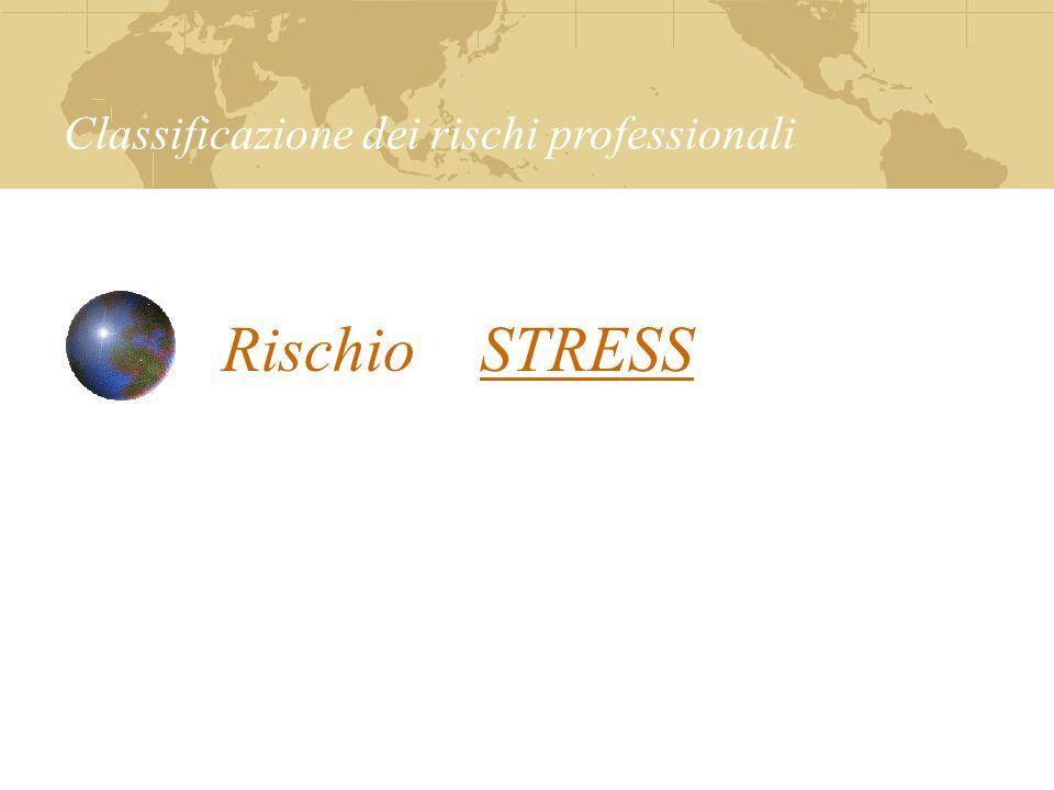 Rischio STRESS Classificazione dei rischi professionali