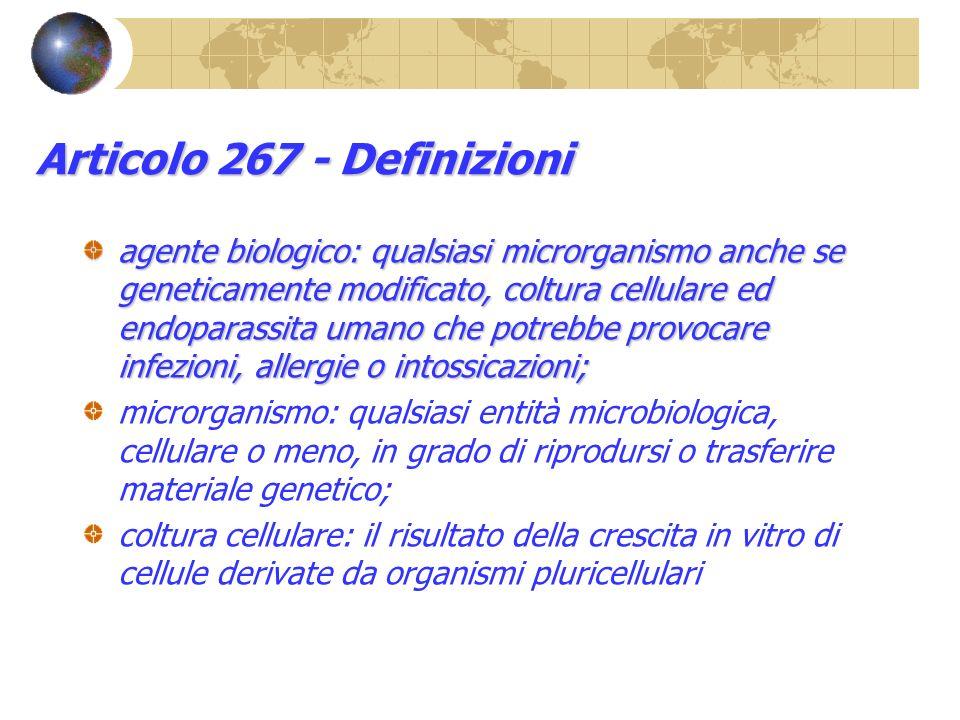 Articolo 267 - Definizioni agente biologico: qualsiasi microrganismo anche se geneticamente modificato, coltura cellulare ed endoparassita umano che p
