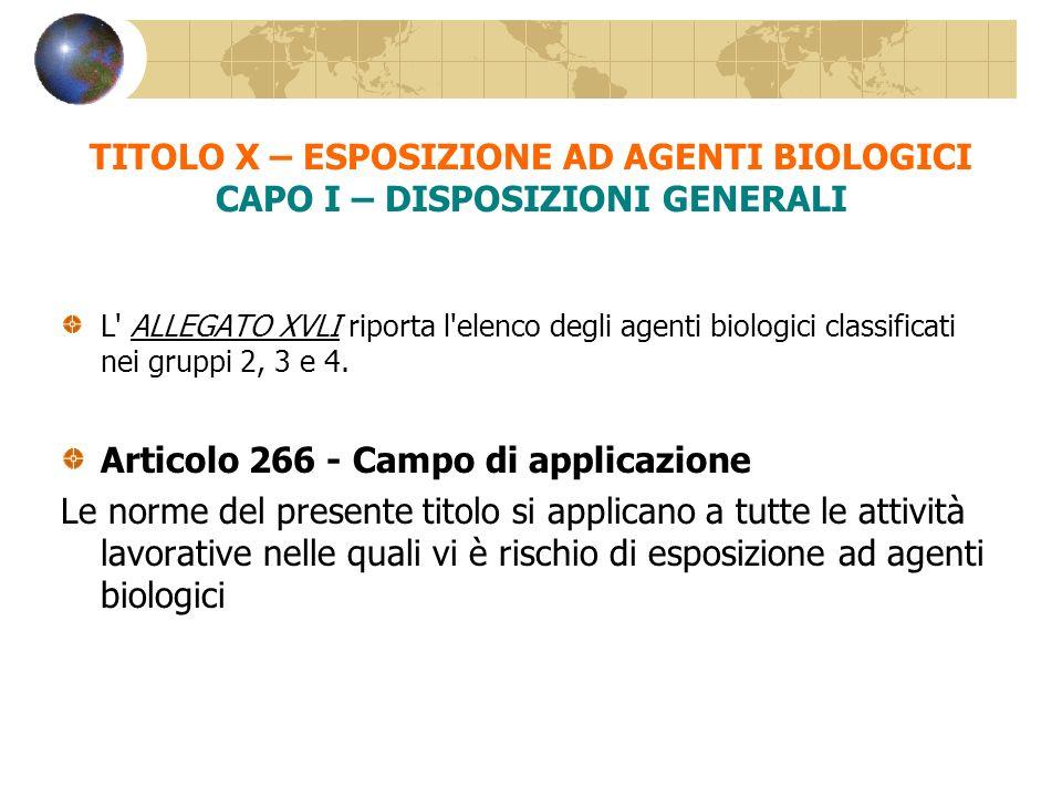 L' ALLEGATO XVLI riporta l'elenco degli agenti biologici classificati nei gruppi 2, 3 e 4. Articolo 266 - Campo di applicazione Le norme del presente