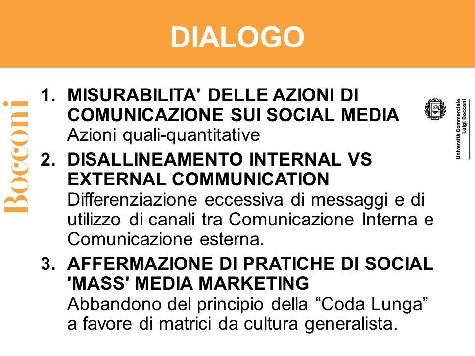 DIALOGO 1.MISURABILITA' DELLE AZIONI DI COMUNICAZIONE SUI SOCIAL MEDIA Azioni quali-quantitative 2.DISALLINEAMENTO INTERNAL VS EXTERNAL COMMUNICATION
