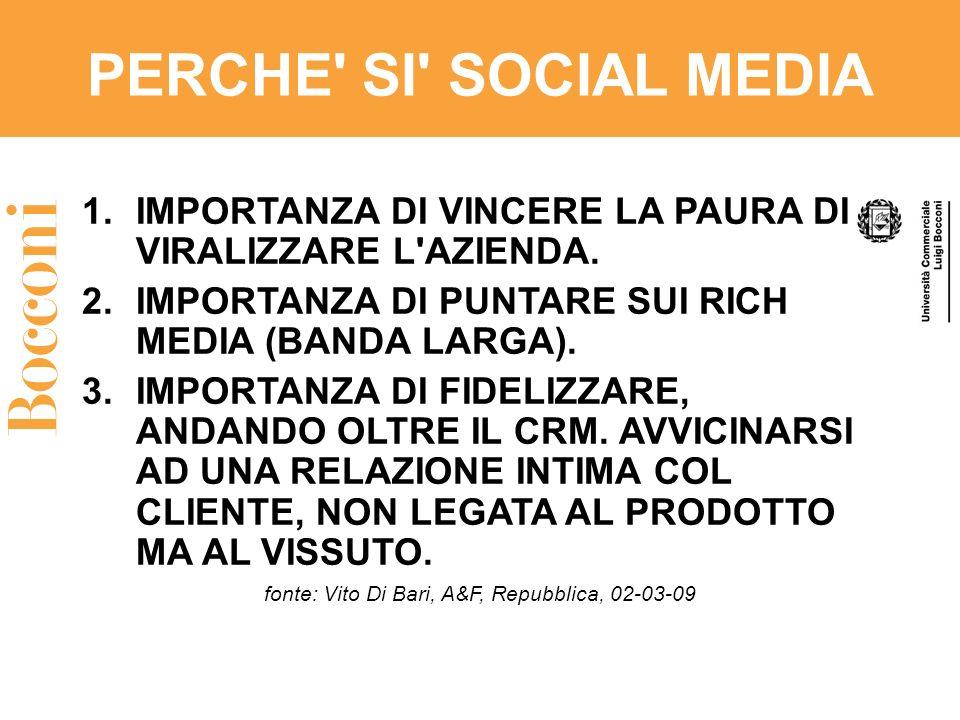 PERCHE' SI' SOCIAL MEDIA 1.IMPORTANZA DI VINCERE LA PAURA DI VIRALIZZARE L'AZIENDA. 2.IMPORTANZA DI PUNTARE SUI RICH MEDIA (BANDA LARGA). 3.IMPORTANZA