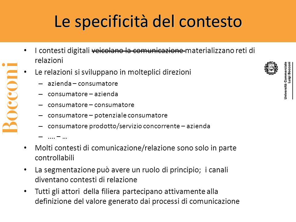 Le specificità del contesto I contesti digitali veicolano la comunicazione materializzano reti di relazioni Le relazioni si sviluppano in molteplici direzioni – azienda – consumatore – consumatore – azienda – consumatore – consumatore – potenziale consumatore – consumatore prodotto/servizio concorrente – azienda –....