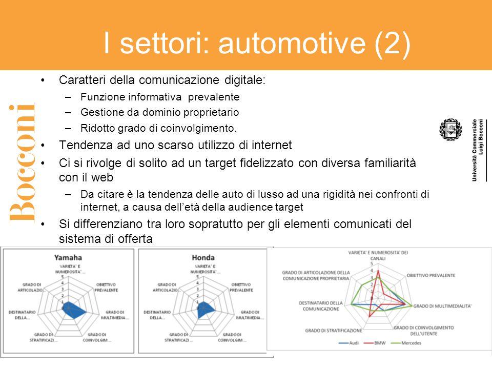 I settori: automotive (2) Caratteri della comunicazione digitale: –Funzione informativa prevalente –Gestione da dominio proprietario –Ridotto grado di coinvolgimento.