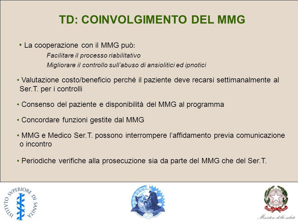 TD: COINVOLGIMENTO DEL MMG La cooperazione con il MMG può : Facilitare il processo riabilitativo Migliorare il controllo sullabuso di ansiolitici ed ipnotici Valutazione costo/beneficio perché il paziente deve recarsi settimanalmente al Ser.T.