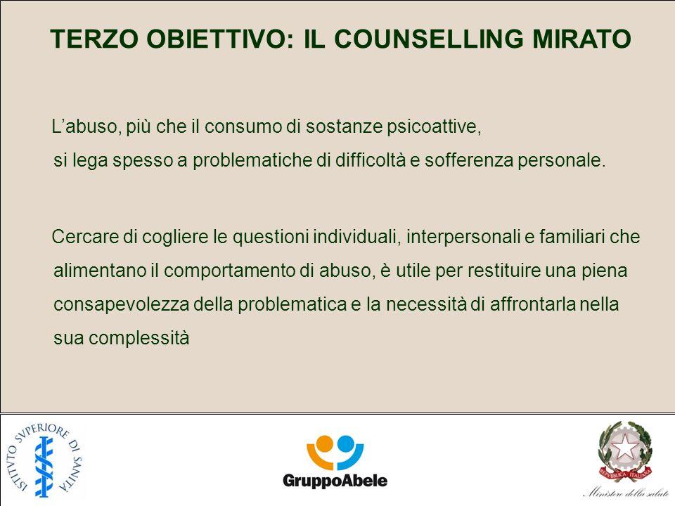 TERZO OBIETTIVO: IL COUNSELLING MIRATO Labuso, più che il consumo di sostanze psicoattive, si lega spesso a problematiche di difficoltà e sofferenza personale.