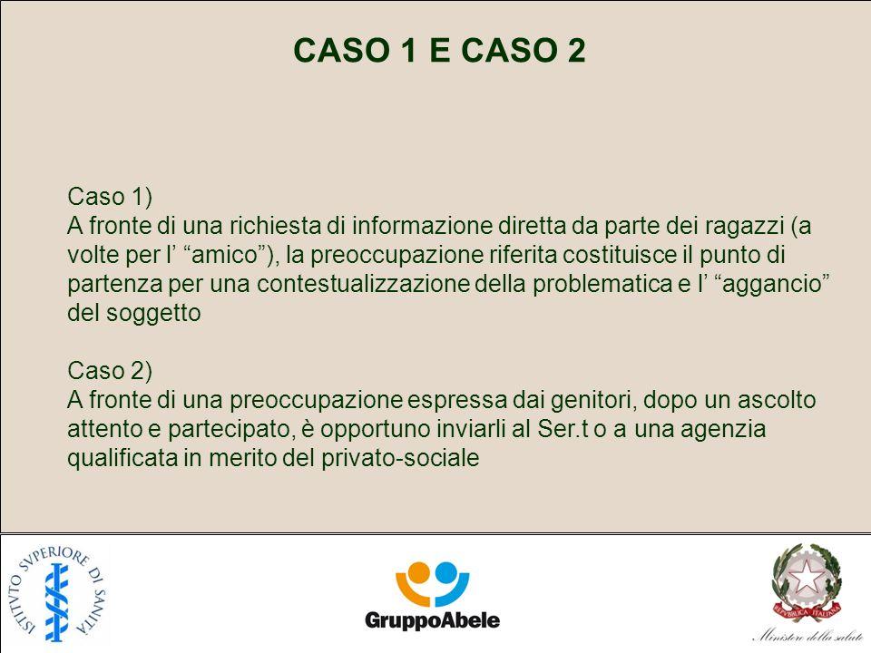 CASO 1 E CASO 2 Caso 1) A fronte di una richiesta di informazione diretta da parte dei ragazzi (a volte per l amico), la preoccupazione riferita costi