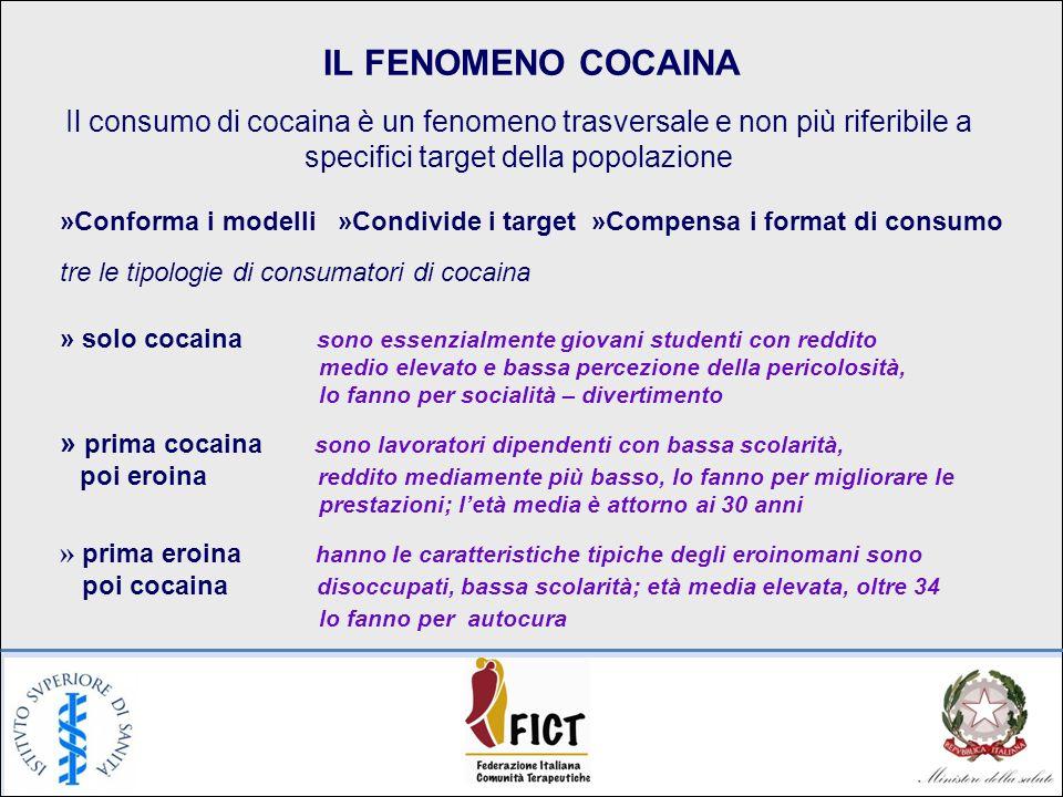 IL FENOMENO COCAINA Il consumo di cocaina è un fenomeno trasversale e non più riferibile a specifici target della popolazione »Conforma i modelli »Con