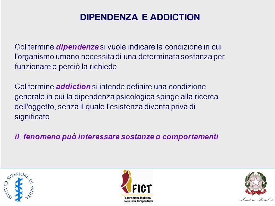 DIPENDENZA E ADDICTION Col termine dipendenza si vuole indicare la condizione in cui l'organismo umano necessita di una determinata sostanza per funzi