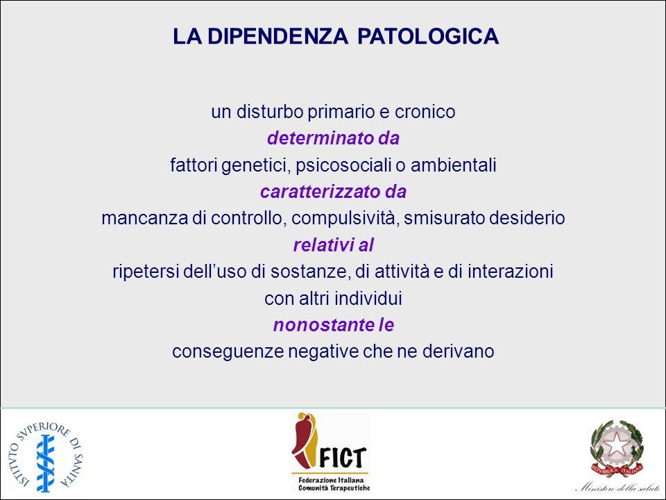 LA DIPENDENZA PATOLOGICA un disturbo primario e cronico determinato da fattori genetici, psicosociali o ambientali caratterizzato da mancanza di contr