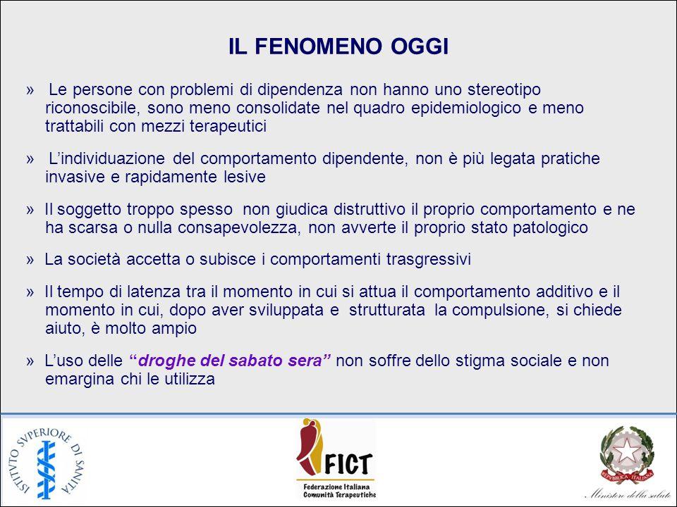 IL FENOMENO OGGI » Le persone con problemi di dipendenza non hanno uno stereotipo riconoscibile, sono meno consolidate nel quadro epidemiologico e men